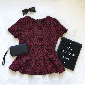 burgundy and black peplum top